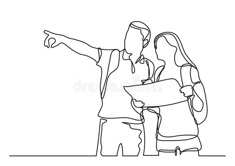 Viaggiatori che imparano mappa - disegno a tratteggio continuo illustrazione di stock