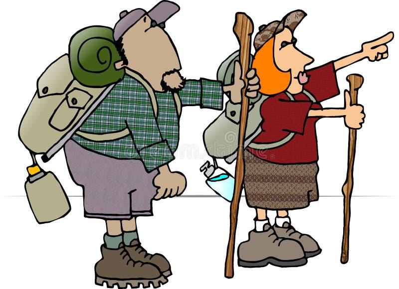 Viaggiatori con zaino e sacco a pelo royalty illustrazione gratis
