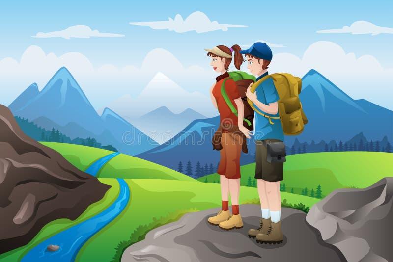 Viaggiatori con zaino e sacco a pelo sulle montagne superiori illustrazione di stock