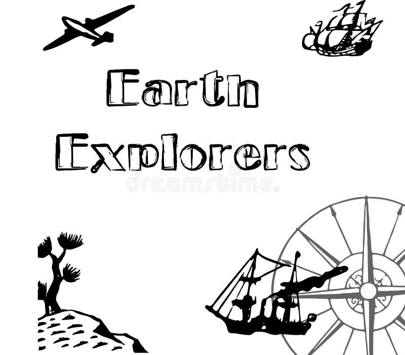 Viaggiatori introduttivi della terra della copertura con una bei nave, aereo, cactus e bussola dell'ornamento royalty illustrazione gratis