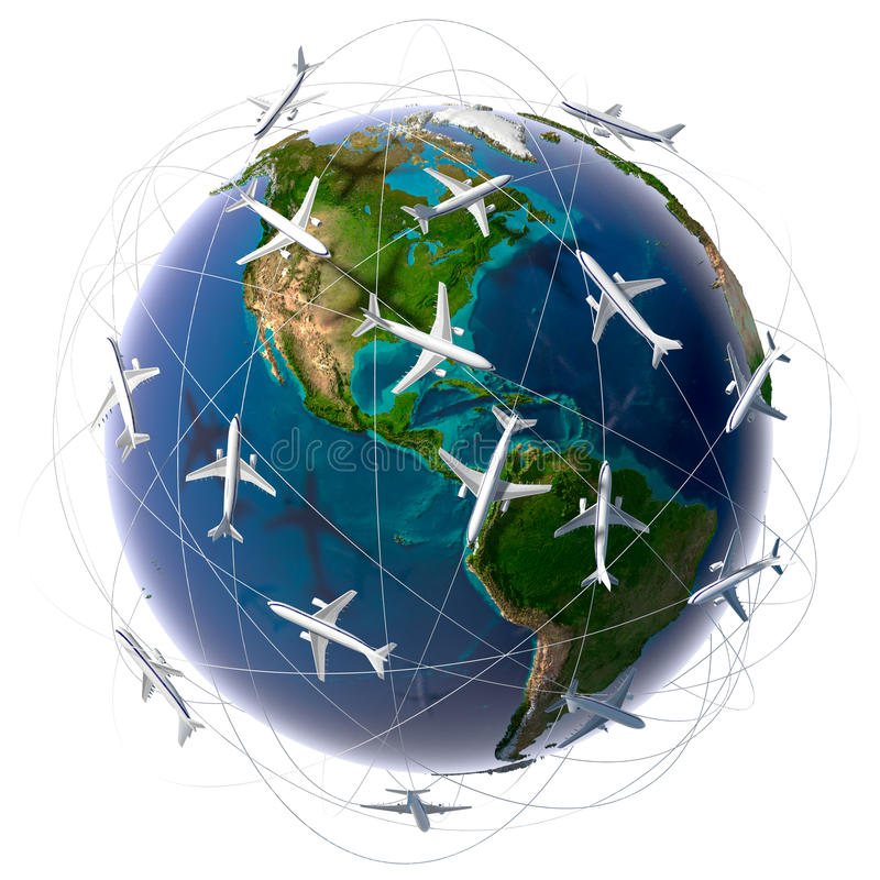 Viaggio æreo internazionale illustrazione di stock