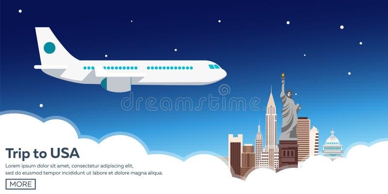 Viaggio ad U.S.A. Orizzonte di New York Illustrazione di viaggio Progettazione piana moderna Tempo di viaggiare illustrazione vettoriale