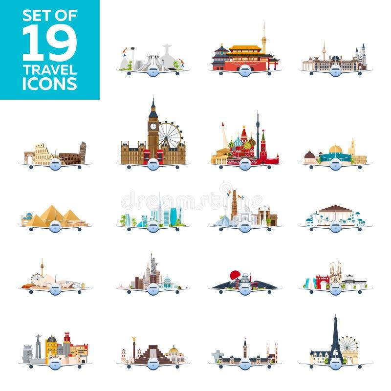 Viaggio al mondo Aeroplano con le attrazioni Grande insieme delle icone di viaggio Stile piano royalty illustrazione gratis