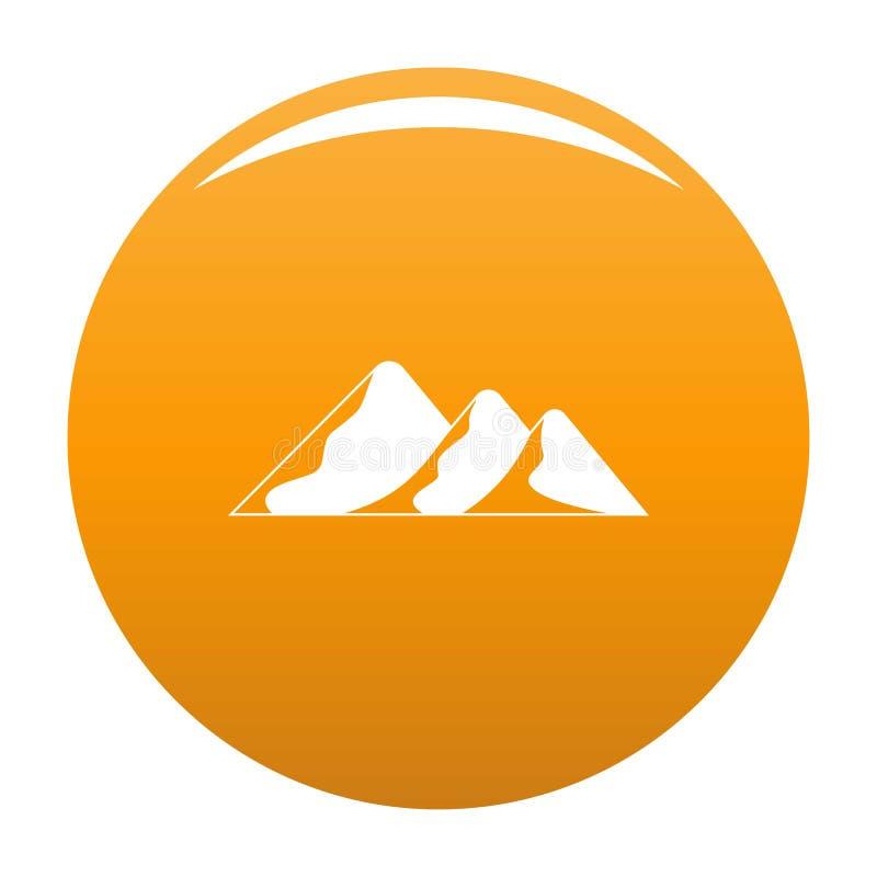 Viaggio all'arancia di vettore dell'icona della montagna illustrazione di stock