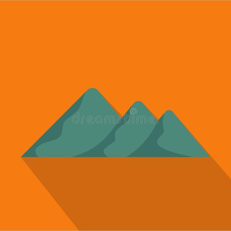 Viaggio all'icona della montagna, stile piano illustrazione vettoriale