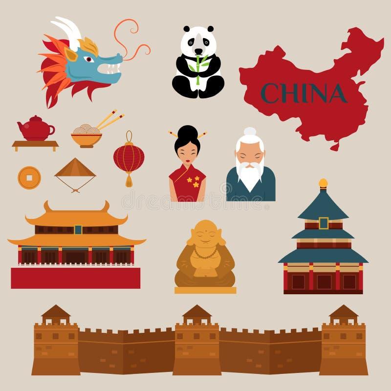 Viaggio all'illustrazione delle icone di vettore della Cina illustrazione di stock