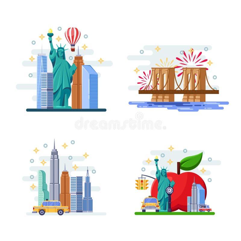 Viaggio all'illustrazione piana di vettore di New York Simboli della città, punti di riferimento e posti famosi Icone di U.S.A. e royalty illustrazione gratis