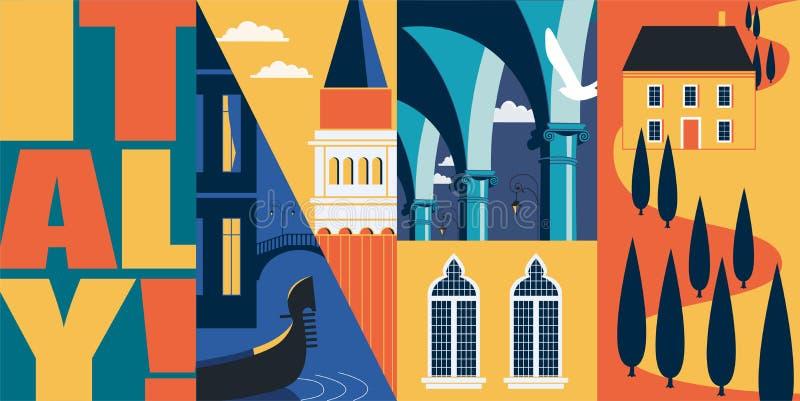 Viaggio all'insegna di vettore dell'Italia, illustrazione Orizzonte della citt?, costruzioni storiche royalty illustrazione gratis