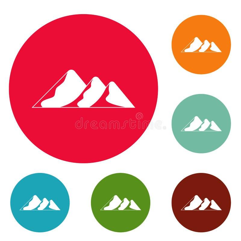 Viaggio all'insieme del cerchio delle icone della montagna illustrazione di stock