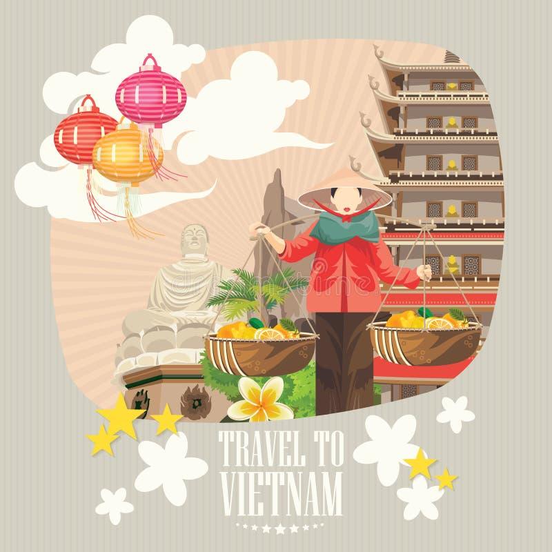 Viaggio alla carta del Vietnam con le luci asiatiche royalty illustrazione gratis