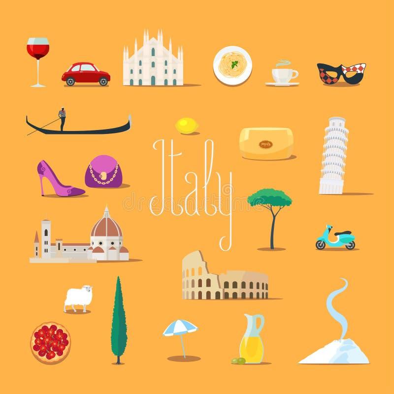 Viaggio alle icone di vettore dell'Italia messe Punti di riferimento italiani, cattedrale, gandola illustrazione di stock