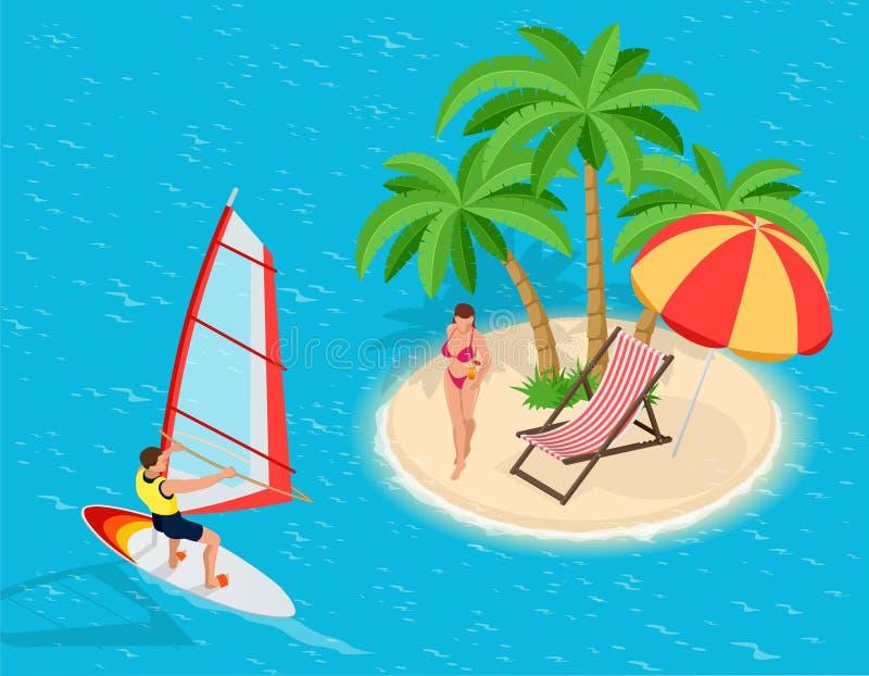 Viaggio alle vacanze estive Viaggio alle vacanze estive vacanza windsurfing turismo Insegna di viaggio viaggio viaggiare illustrazione di stock