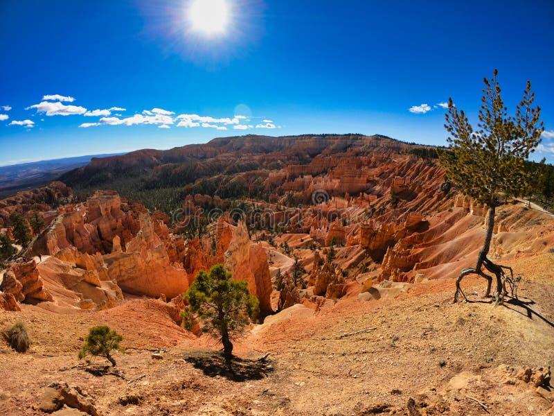Viaggio in america ad ovest, deserto e le viste rosse delle rocce con cielo blu fotografia stock libera da diritti