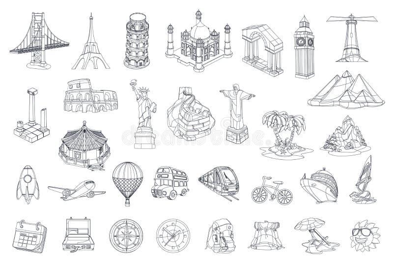 Viaggio, attrazione turistica Insieme dell'icona di vettore royalty illustrazione gratis