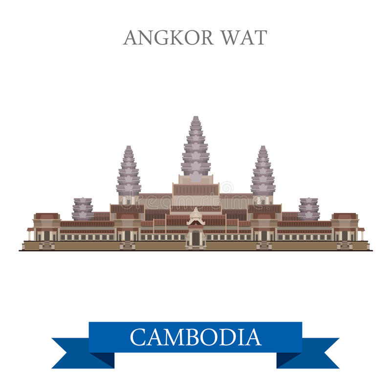Viaggio complesso dell'attrazione di vettore di Cambodiaflat del tempio di Angkor Wat illustrazione vettoriale