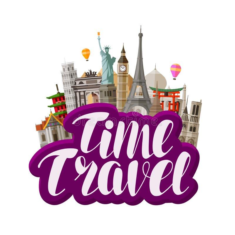 Viaggio, concetto di viaggio Punti di riferimento famosi del mondo Illustrazione di vettore dell'iscrizione royalty illustrazione gratis