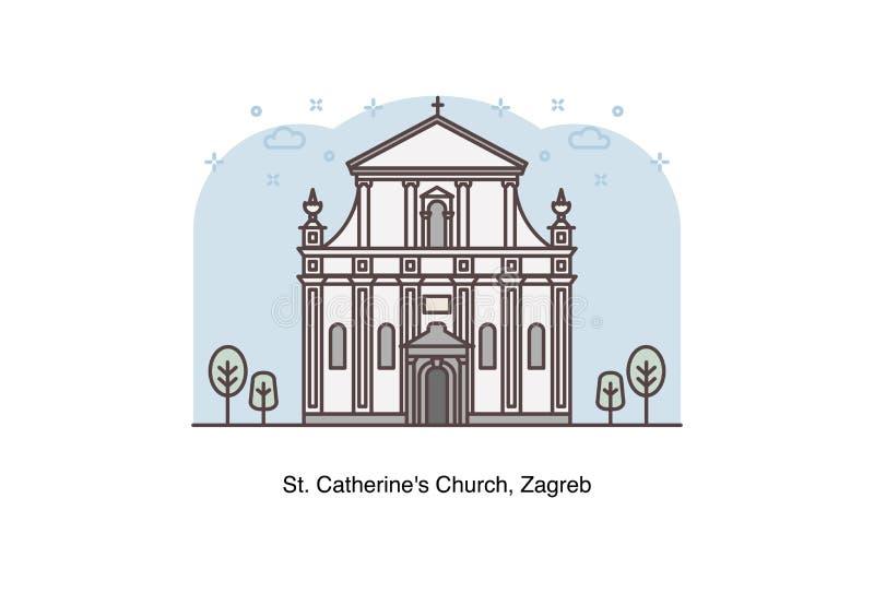 Viaggio Croazia - Vector illustrazione al tratto della chiesa del ` s della st Catherine, Zagabria illustrazione vettoriale