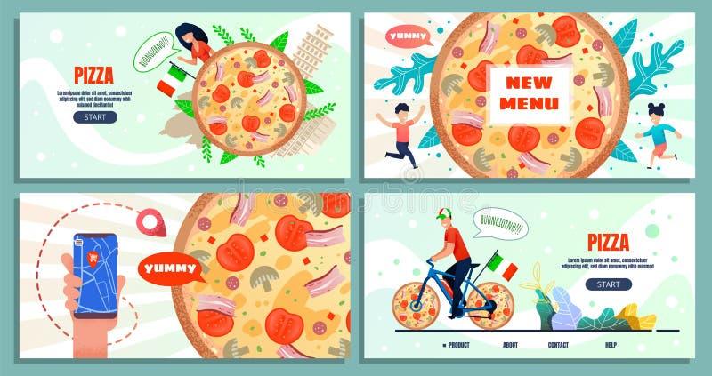 Viaggio culinario in Italia che annuncia la pagina di atterraggio illustrazione vettoriale