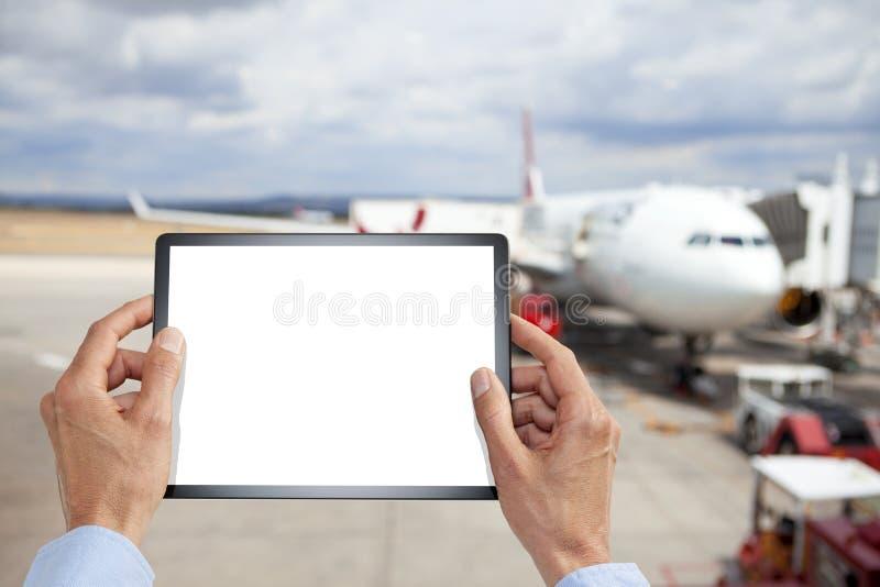 Viaggio d'affari dell'aeroporto della compressa fotografie stock libere da diritti
