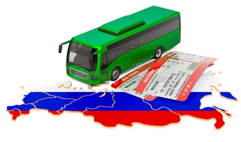 Viaggio del bus nella Federazione Russa, concetto rappresentazione 3d illustrazione di stock