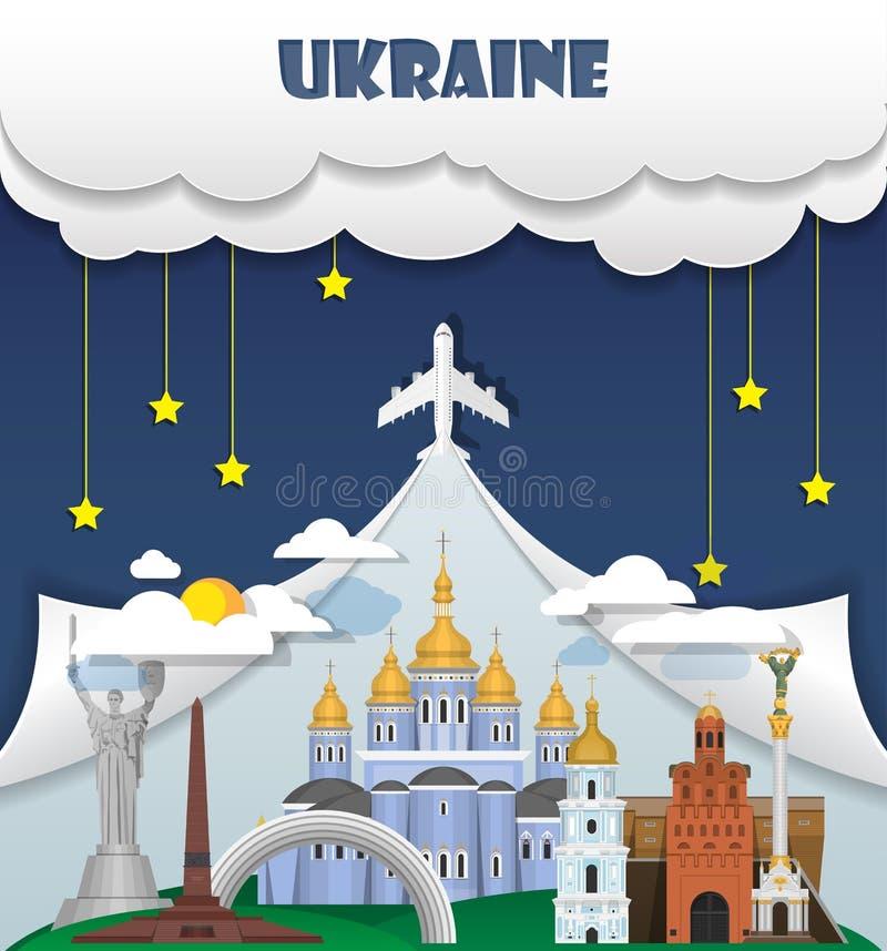 Viaggio del punto di riferimento del fondo di viaggio dell'Ucraina e viaggio globali Inf royalty illustrazione gratis