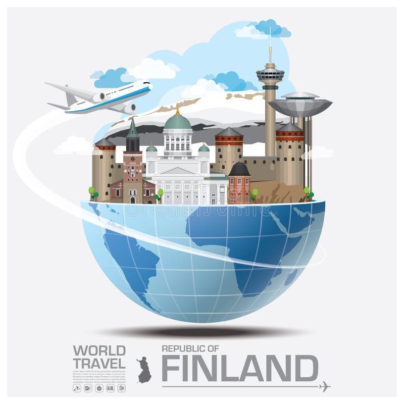 Viaggio del punto di riferimento della Finlandia e viaggio globali Infographic royalty illustrazione gratis