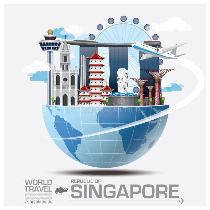 Viaggio del punto di riferimento di Singapore e viaggio globali Infographic illustrazione vettoriale
