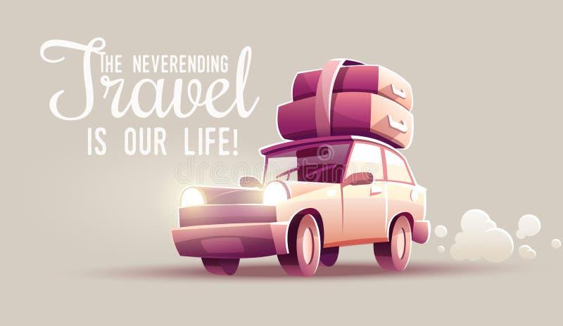 Viaggio dell'azionamento di vacanza di viaggio della famiglia in macchina royalty illustrazione gratis