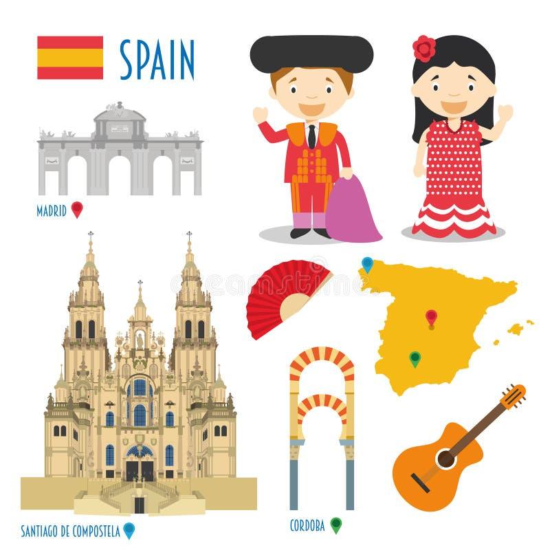 Viaggio dell'icona piana della Spagna e concetto stabiliti di turismo illustrazione di stock