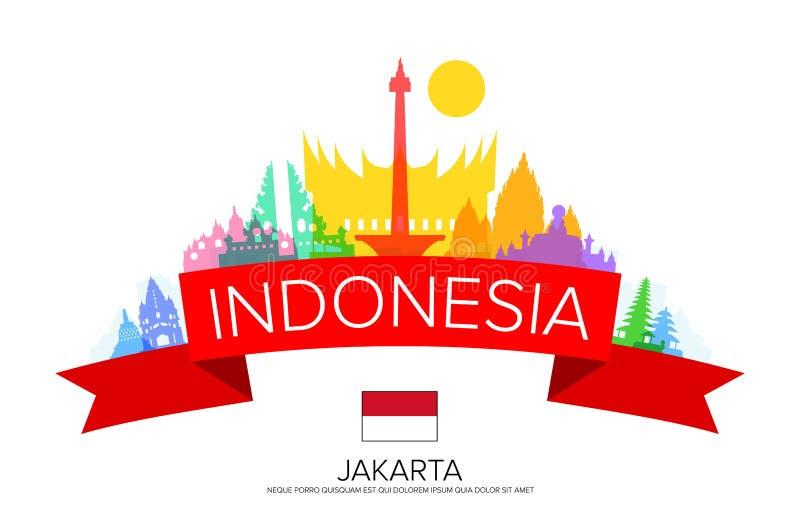 Viaggio dell'Indonesia, viaggio di Jakarta, punti di riferimento illustrazione di stock