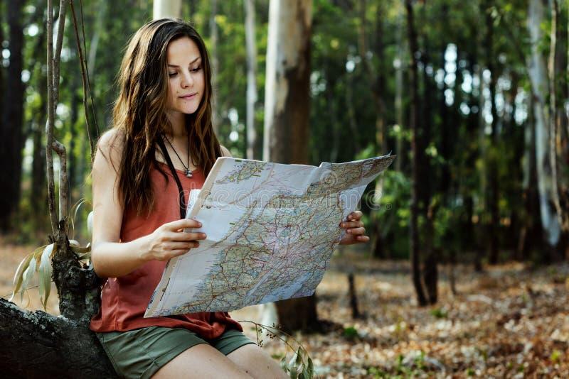 Viaggio dell'itinerario di navigazione della destinazione di avventura della mappa fotografia stock
