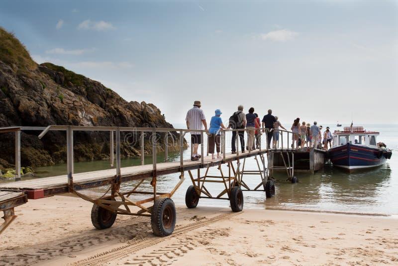 Viaggio della barca dell'isola di Caldey (Galles del sud) fotografia stock