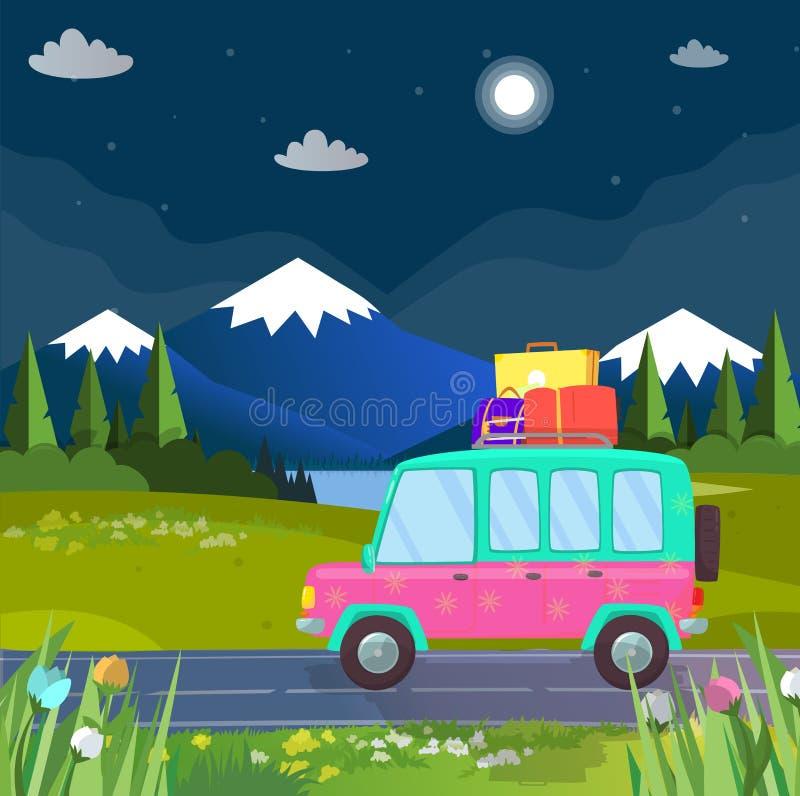Viaggio della famiglia in macchina all'altopiano Viaggio di festa illustrazione vettoriale
