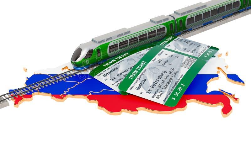 Viaggio della ferrovia nella Federazione Russa, concetto rappresentazione 3d illustrazione vettoriale