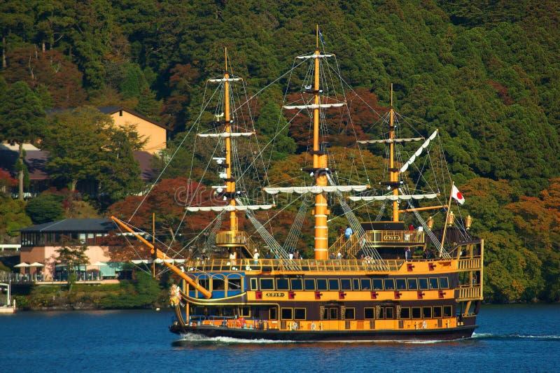 Viaggio della nave nel lago di ashi, Giappone fotografia stock libera da diritti