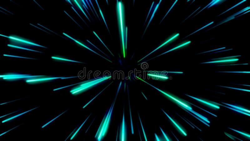 Viaggio dello spazio o della particella Fondo dello zoom della particella illustrazione vettoriale