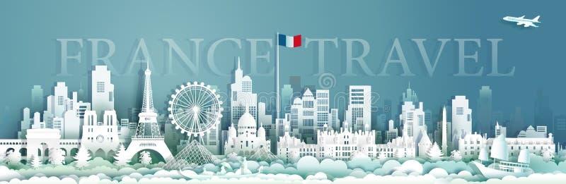 Viaggio di architettura della Francia con la barca a vela e il gondora royalty illustrazione gratis