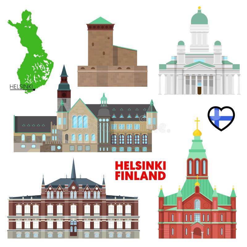Viaggio di Helsinki fissato con architettura Visita Finlandia illustrazione di stock