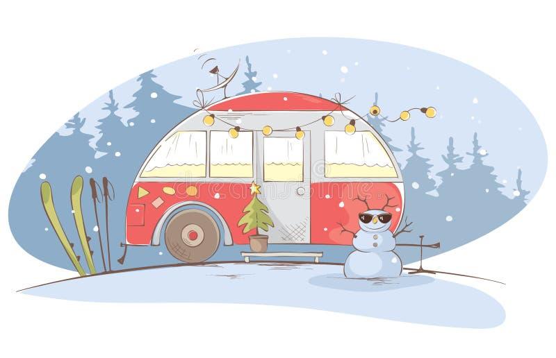 Viaggio di inverno in una casa sulle ruote royalty illustrazione gratis