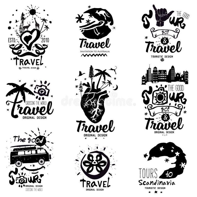 Viaggio di logo Viaggio di logo fatto a mano fotografia stock libera da diritti