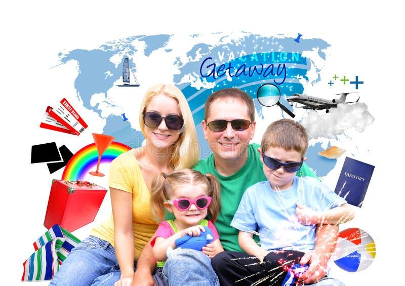 Viaggio di vacanza di famiglia con l'icona su bianco fotografia stock