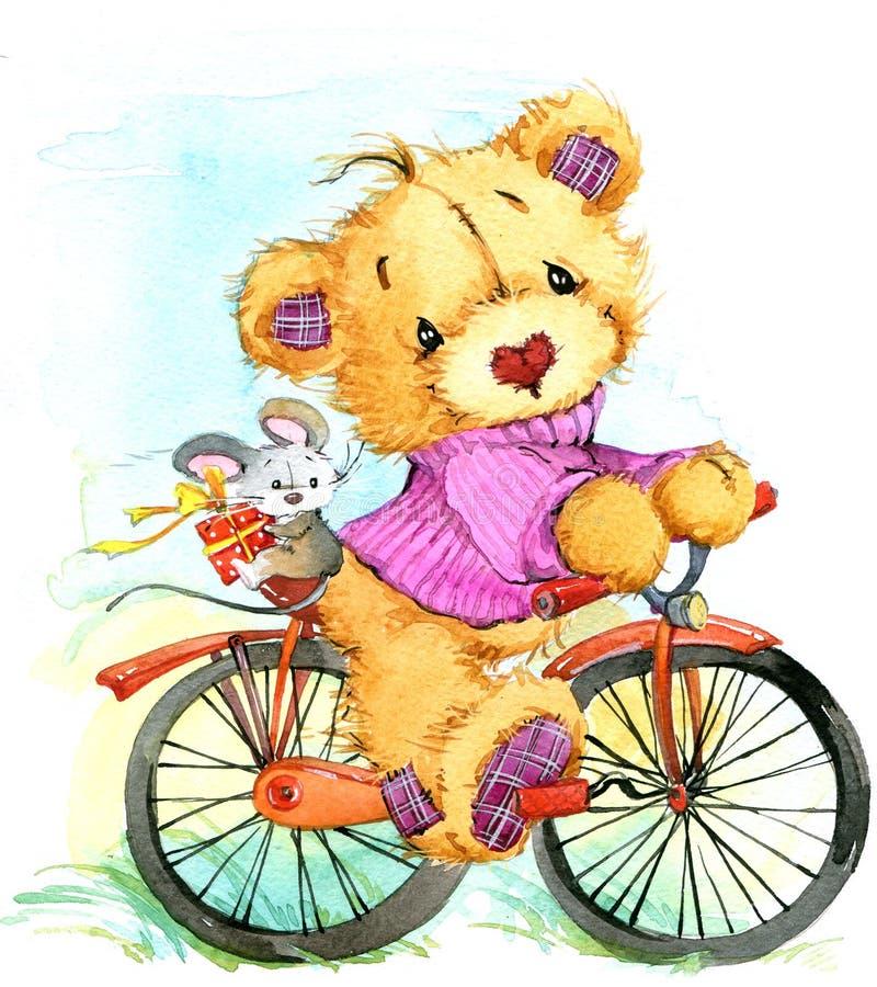 Viaggio e bicicletta dell'orsacchiotto Illustrazione dell'acquerello illustrazione di stock