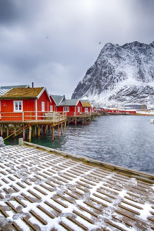Viaggio e destinazioni della Norvegia Reine Viewpoint pittoresca fotografie stock libere da diritti