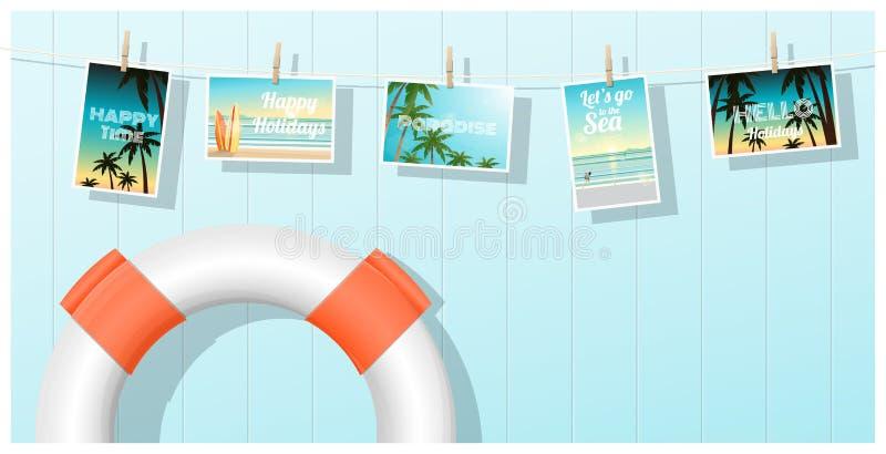 Viaggio e turismo, cartoline tropicali del mare visualizzate su fondo variopinto illustrazione vettoriale