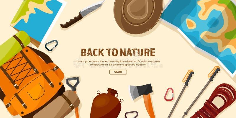 Viaggio, facente un'escursione fondo Scalata di montagna Turismo internazionale, viaggio alla natura, intorno al viaggio del mond illustrazione di stock