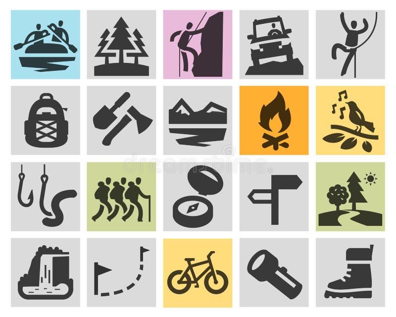 Viaggio, facente un'escursione il modello di progettazione di logo di vettore campeggio illustrazione di stock