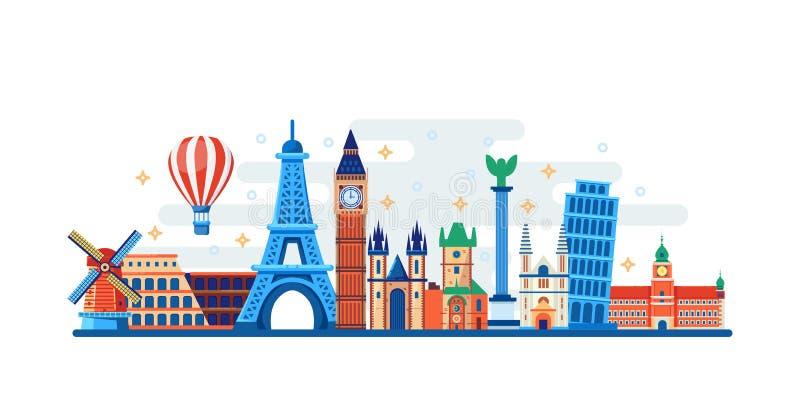 Viaggio famoso e punti di riferimento turistici Illustrazione piana di vettore Concetto di viaggio intorno al mondo Insegna orizz illustrazione vettoriale