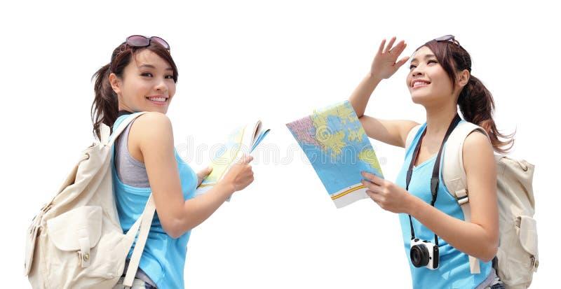 Viaggio felice della donna fotografia stock