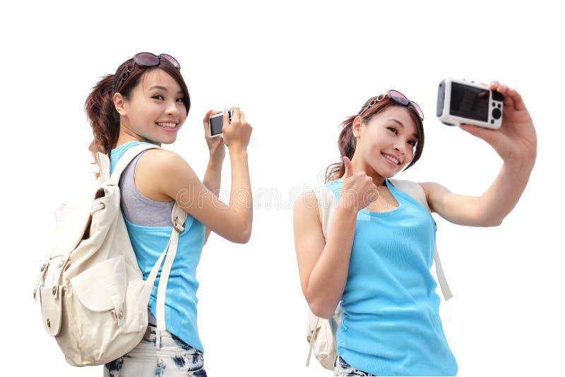 Viaggio felice della donna immagini stock