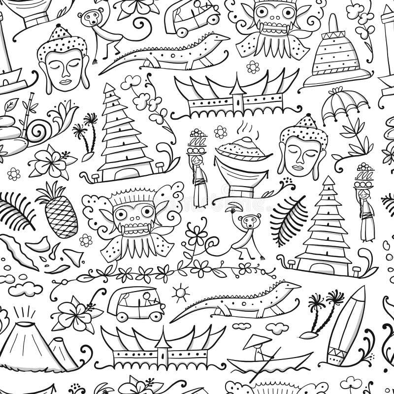 Viaggio in Indonesia Reticolo senza cuciture per il vostro disegno royalty illustrazione gratis